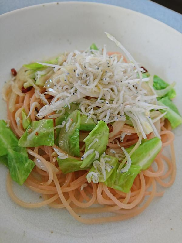 春キャベツとじゃこのさくらスパゲッティ